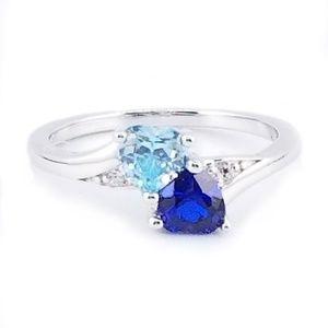 Jewelry - Sterling Silver Blue Sapphire & Blue Topaz Heart